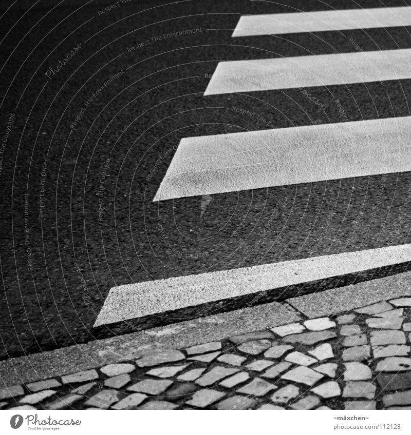 zebra crossing II Zebra crossing Street crossing Dangerous Cobblestones Curbside Black White Square Diagonal Stripe Asphalt Hard Going Traverse Yield sign