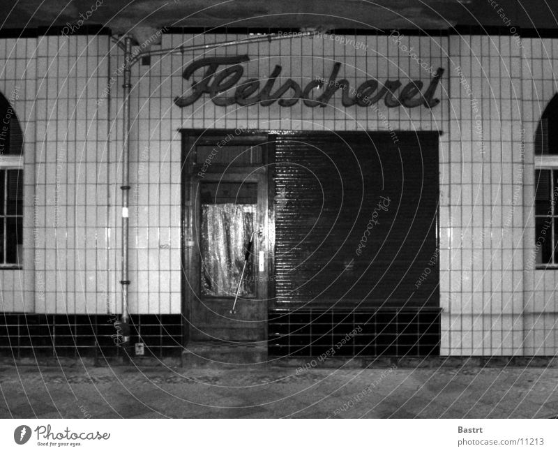 butcher's House (Residential Structure) Nostalgia Butcher Old building Window Photographic technology Berlin Store premises Black & white photo sun avenue