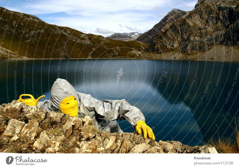 Joy Yellow Mountain Gray Stone Switzerland Climbing Alps Stupid Surrealism Jug