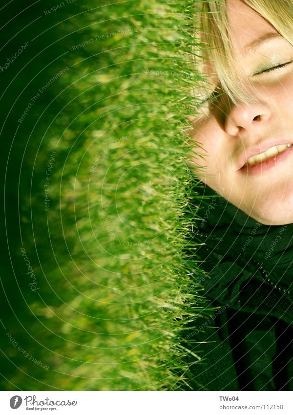 grass whispering Grass Meadow Portrait photograph Woman Blonde Blade of grass Spring Lawn