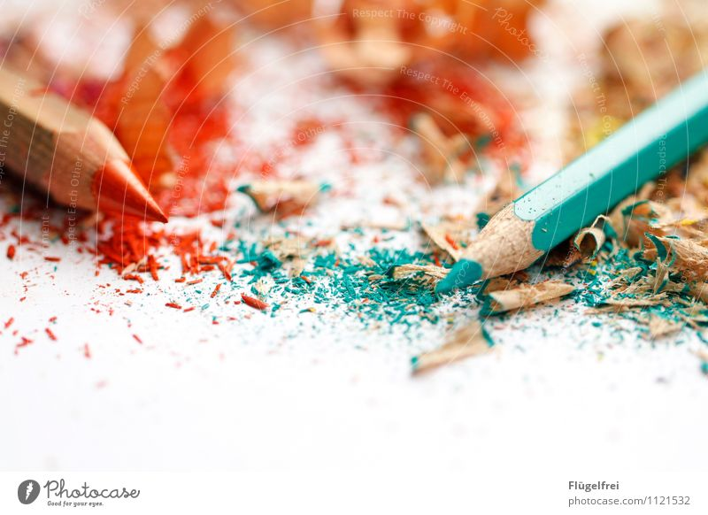 Says the large to the small pen ... Art Lie Crayon Point Sharpener Painting (action, artwork) Creativity Turquoise Orange Complementary colour Dirty Wood Crumbs