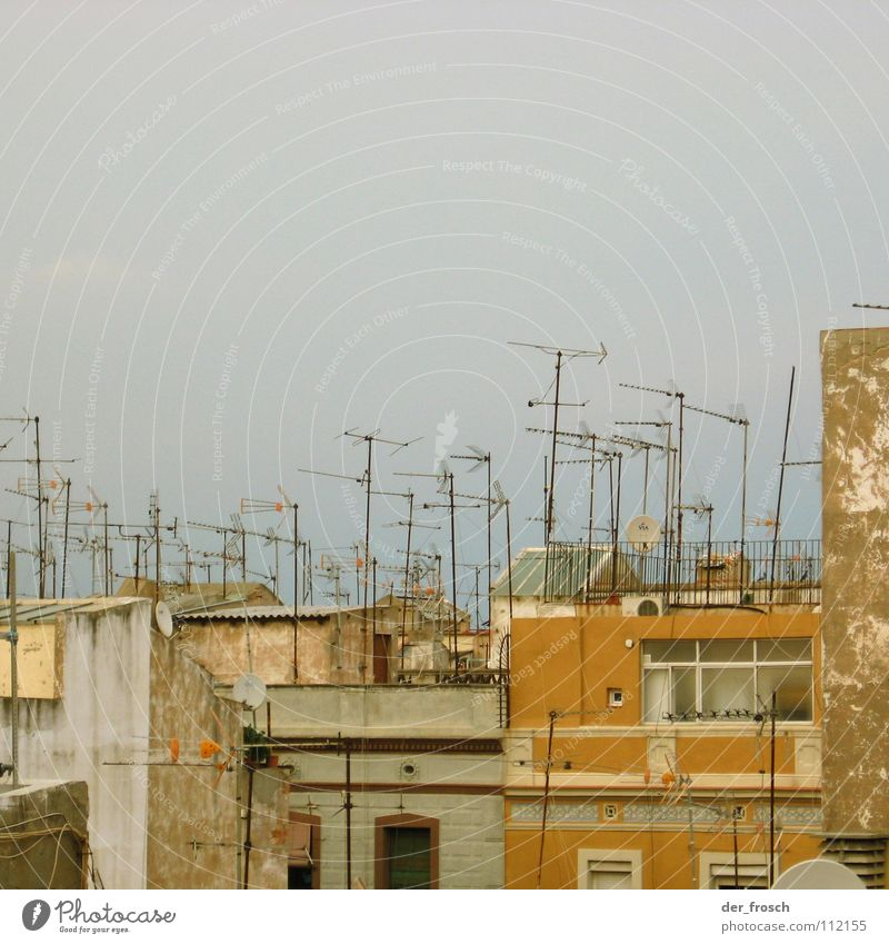 full reception Antenna House (Residential Structure) Roof Barcelona Facade Television Welcome sat receiver Radio (broadcasting) Barceloneta