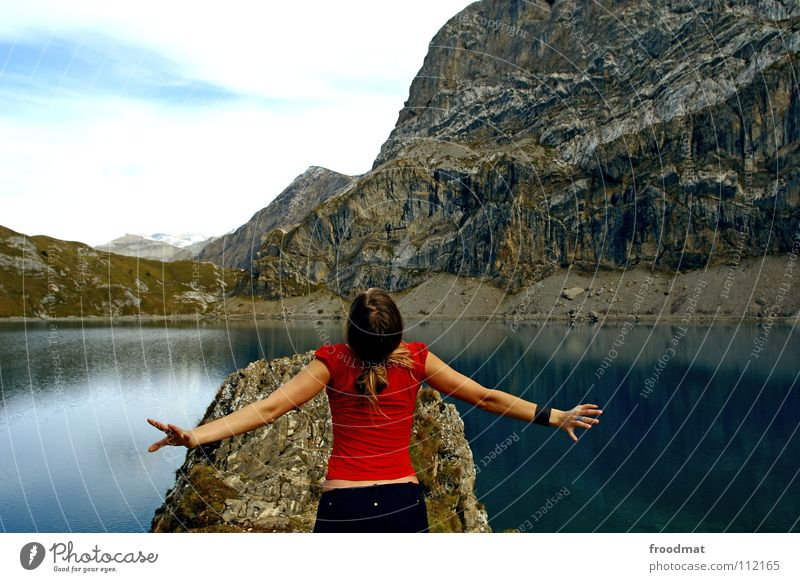 Nature Water Red Vacation & Travel Freedom Mountain Lake Back Adventure Alps Idyll Switzerland Mirror Upward