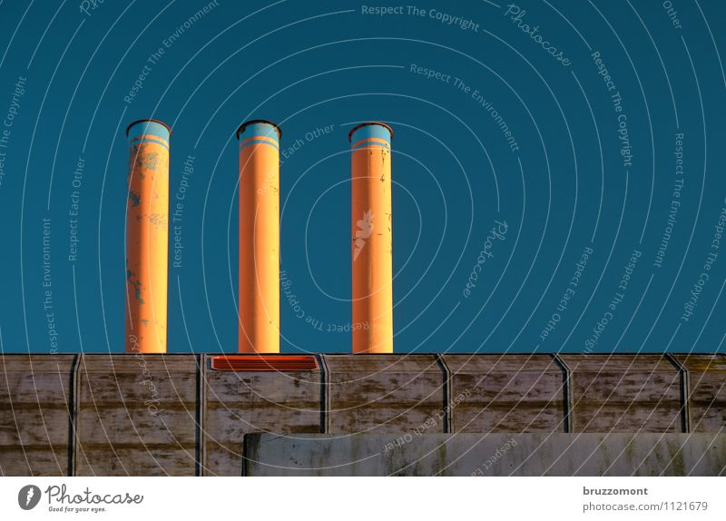 learning factory Technology Energy industry Environment Sky Cloudless sky Factory Building Architecture Wall (barrier) Wall (building) Roof Chimney Blue Orange