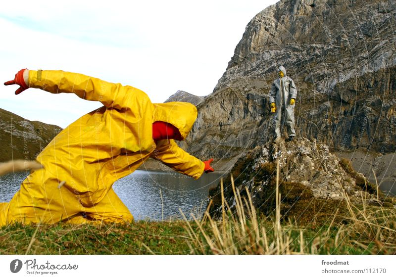 Nature Water Sky Joy Clouds Yellow Mountain Gray Lake Landscape Art Perspective Action Communicate Switzerland Mask