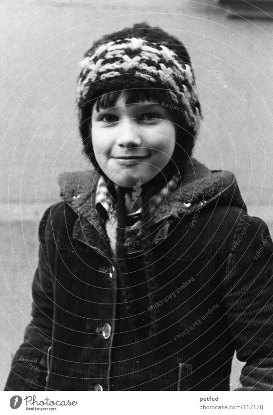 1980 Child Year Black White Winter Smart Cap Coat Past Seventies The eighties Girl Brave Self-confident Happiness Uniqueness Black & white photo Human being