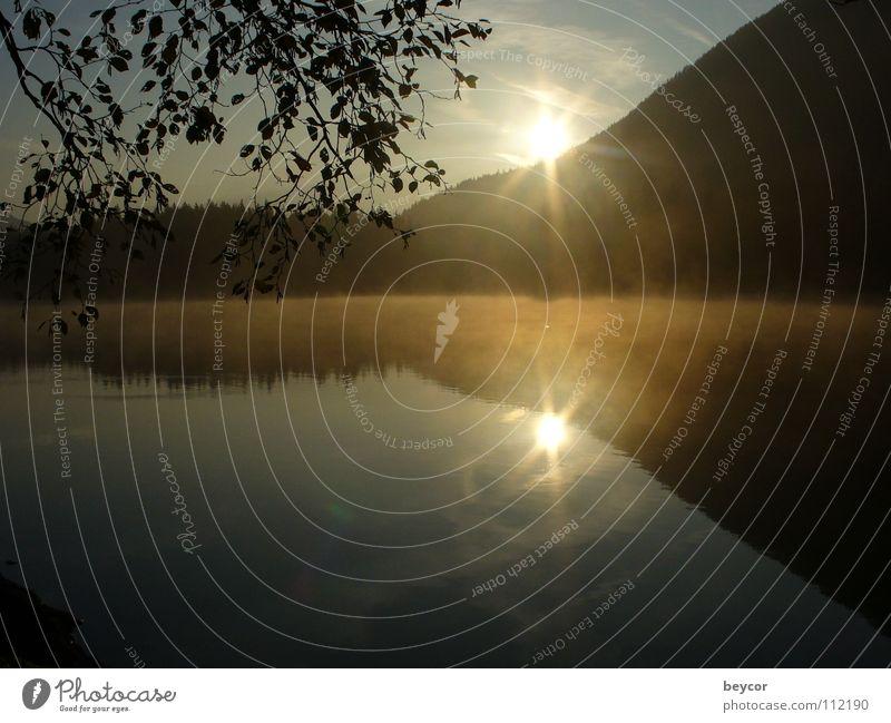 Morning mood at the lake Lake Wake up Sunrise Autumn Calm Transience morning idyll the day comes Coast