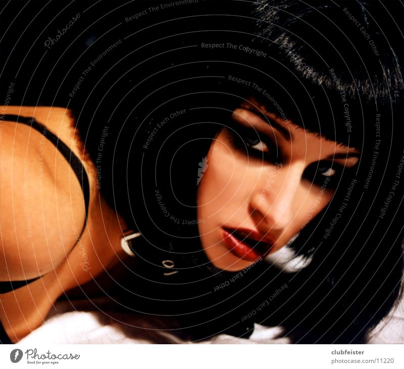 pulp Woman Beast Black Neckband Black-haired Portrait photograph Wearing makeup Bra red lips blue eyes