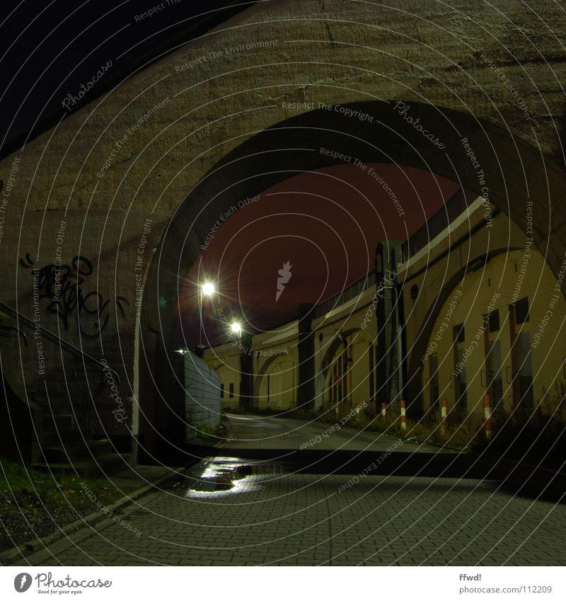 Loneliness Lamp Dark Wall (building) Death Wall (barrier) Lanes & trails Graffiti Industry Stairs Bridge Lantern Surrealism Night shot Mural painting