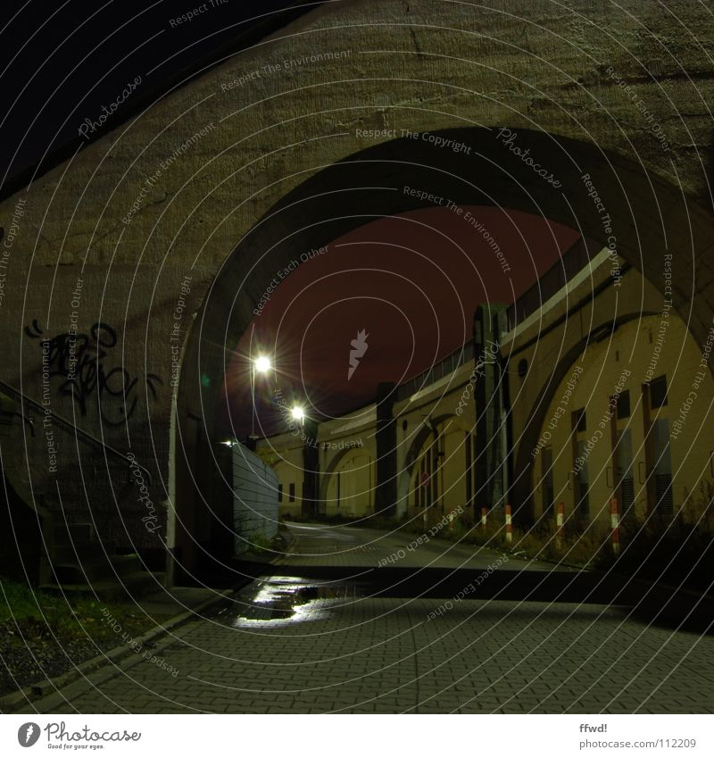 Loneliness Lamp Dark Wall (building) Death Wall (barrier) Lanes & trails Graffiti Industry Stairs Bridge Lantern Surrealism Night shot Mural painting Industrial district