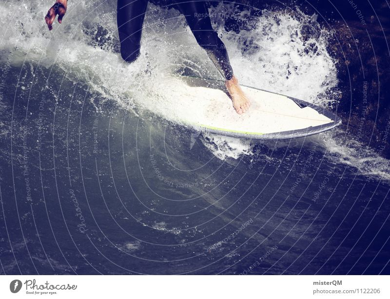 Water Art Leisure and hobbies Contentment Waves Esthetic Barefoot Sports Training Surfing Aquatics Surfer Surfboard Wetsuit Dexterity Extreme sports Undulation