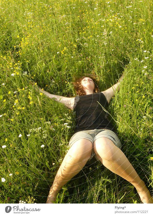 zest for life Grass Meadow Green Grass green Relaxation Summer Joie de vivre (Vitality) Pants Woman Flower Flower meadow Goof off To enjoy Time