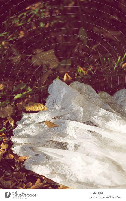Bride's rest. Art Esthetic Wedding dress White Wedding ceremony Wedding party Fashion Colour photo Subdued colour Exterior shot Detail Experimental Deserted