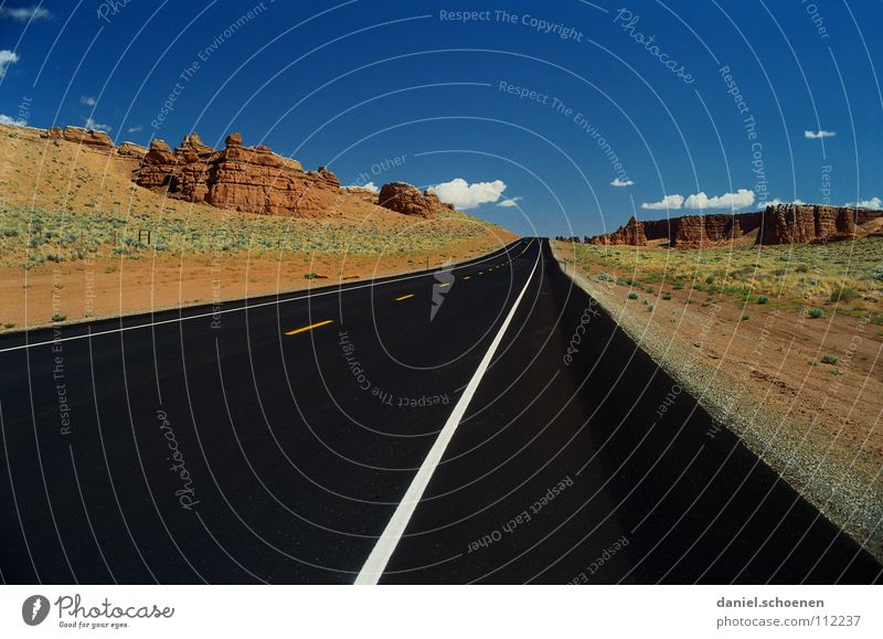 always straight Horizon Motoring Loneliness Empty Background picture Vacation & Travel Wanderlust Red Black Uninhabited Right ahead Americas Dry California USA