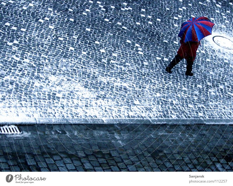Woman Blue White City Red Winter Street Cold Snow Warmth Autumn Gray Going Places Umbrella Physics
