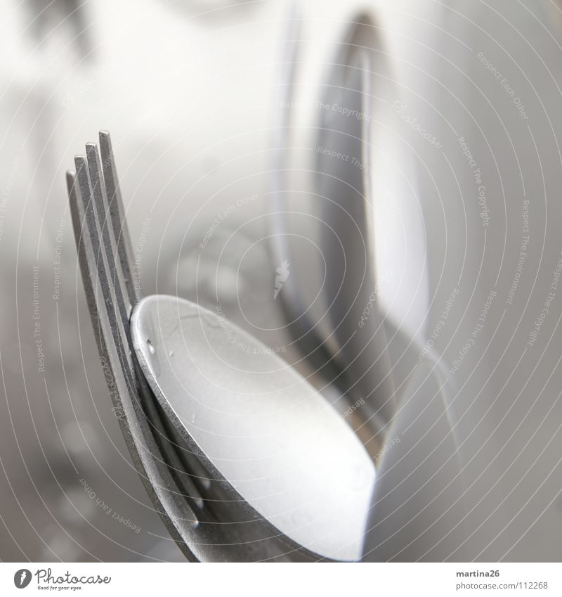 Cutlery - uh, art! Spoon Fork Cold Sculpture Art Still Life Household Arts and crafts  Macro (Extreme close-up) Close-up Silver metallic depth blur Elegant Art!
