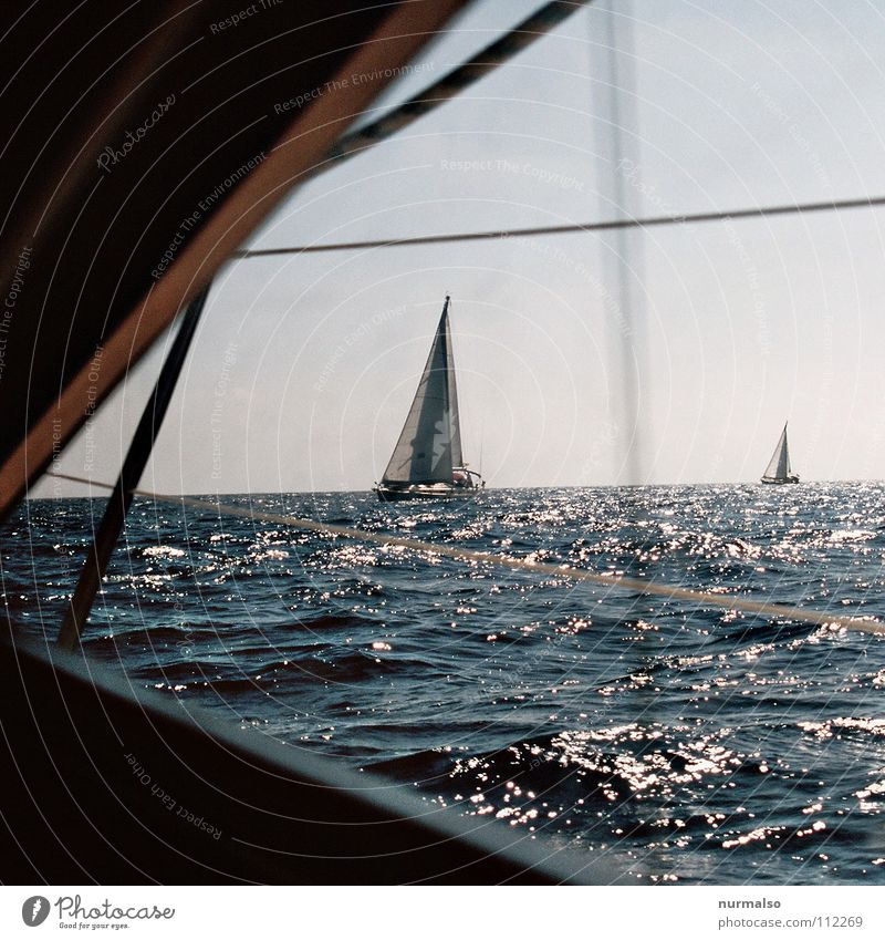 parted Sport boats Watercraft Sailboat Ocean Cross Regatta Horizon Delivery person Swell Waves Summer Physics Porthole Vantage point Captain Go under Dinghy