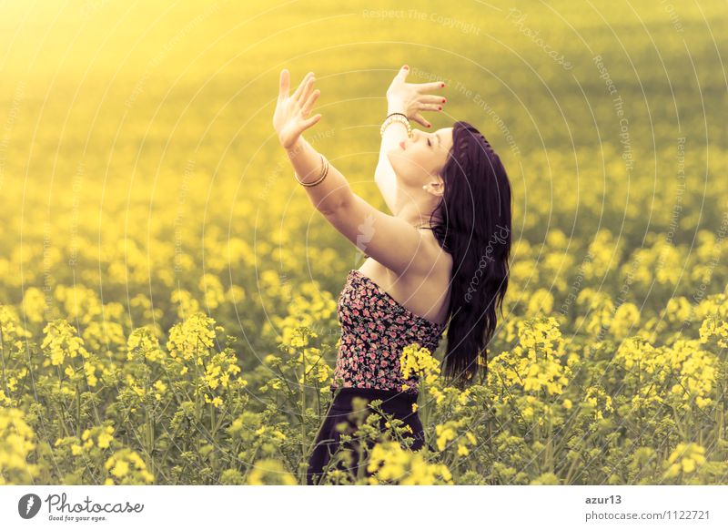 Human being Woman Nature Summer Joy Adults Yellow Life Emotions Love Lifestyle Happy Jump Contentment Power Success