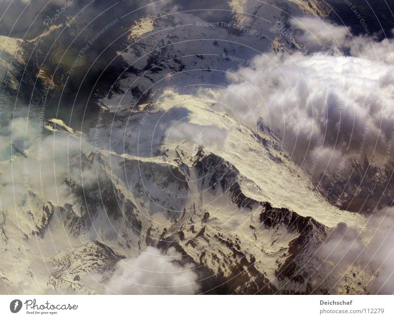 flight Airplane Clouds Bird's-eye view Peak Mountain Germany Earth Above Flying Aviation Snow
