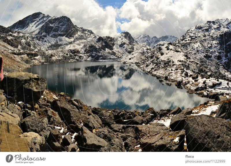 Gosainkunda Mirror Lake, Himalayas, Nepal Nature Vacation & Travel Blue Landscape Clouds Winter Mountain Autumn Lanes & trails Snow Stone Rock Park Fog Wet