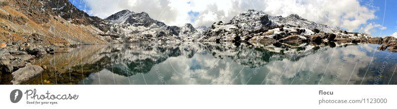 Gosainkunda Mirror Lake, Himalayas, Nepal Nature Vacation & Travel Blue Landscape Clouds Winter Mountain Autumn Lanes & trails Snow Stone Rock Park Fog Wet