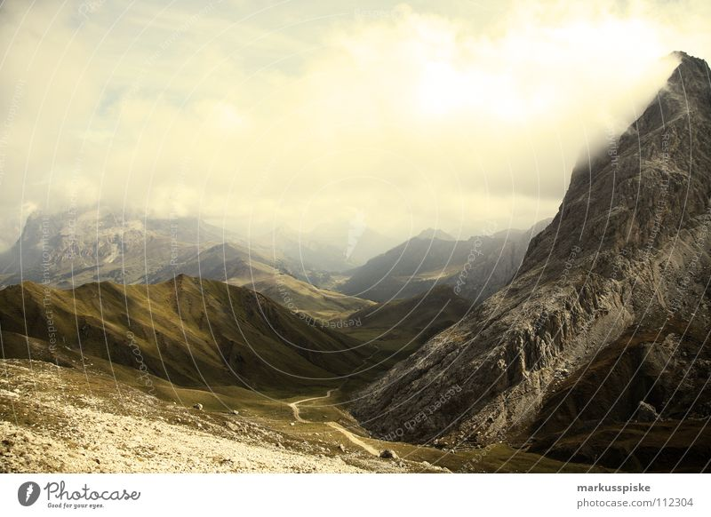 view from the horse teeth Fog Seiser Alm South Tyrol Clouds High plain Hiking Leisure and hobbies Vacation & Travel Footpath Geology Mountain Alps Landscape