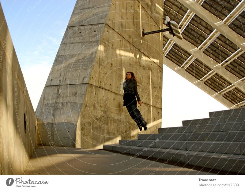 Woman Sky Beautiful Sun Joy Happy Jump Warmth Line Lighting Contentment Concrete Flying Stairs Free