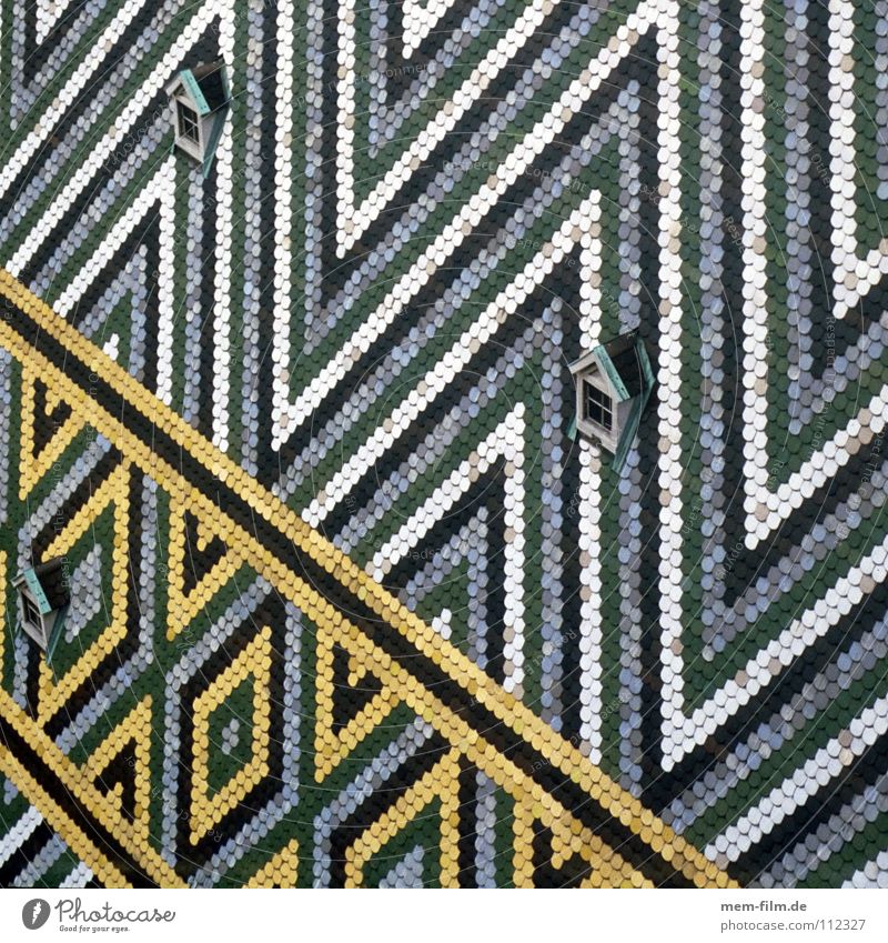 Old White Green Blue Yellow Religion and faith Design Roof Stripe Brick Monument Landmark Austria Dome Vienna Triangle