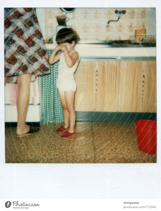 Old Red Girl Colour Polaroid Cleaning Legs Family & Relations Parents Lomography Child Footwear Mother Dress Kitchen Toddler