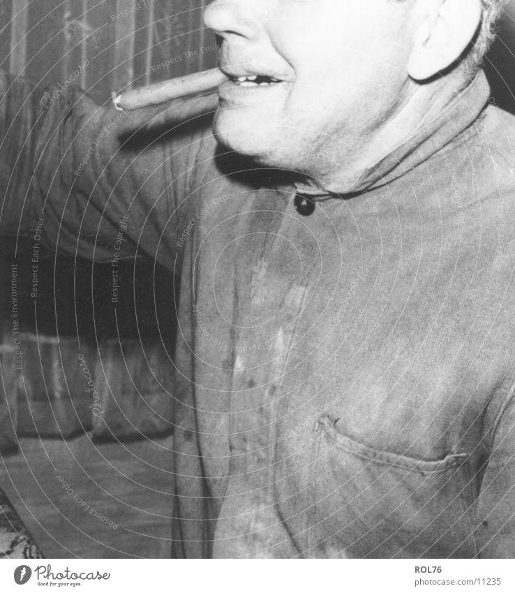 smoke Cigar Workwear Man Nicotine Human being Smoke Black & white photo