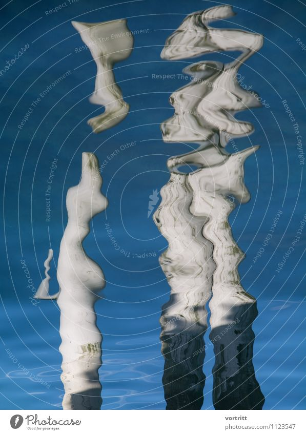 sculpture Painting and drawing (object) Environment Nature Elements Air Water Movement Blue Gray Bizarre Lake Distorted Surrealism Body Mirror image Existence