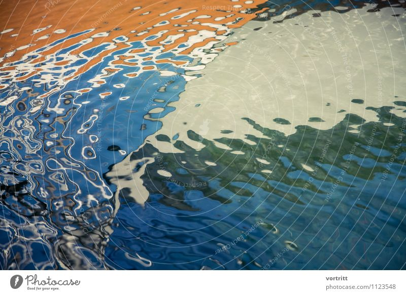 flow of life Painting and drawing (object) Environment Nature Elements Water Navigation Yacht Sailboat Sailing ship Movement Fluid Wet Blue Orange Esthetic