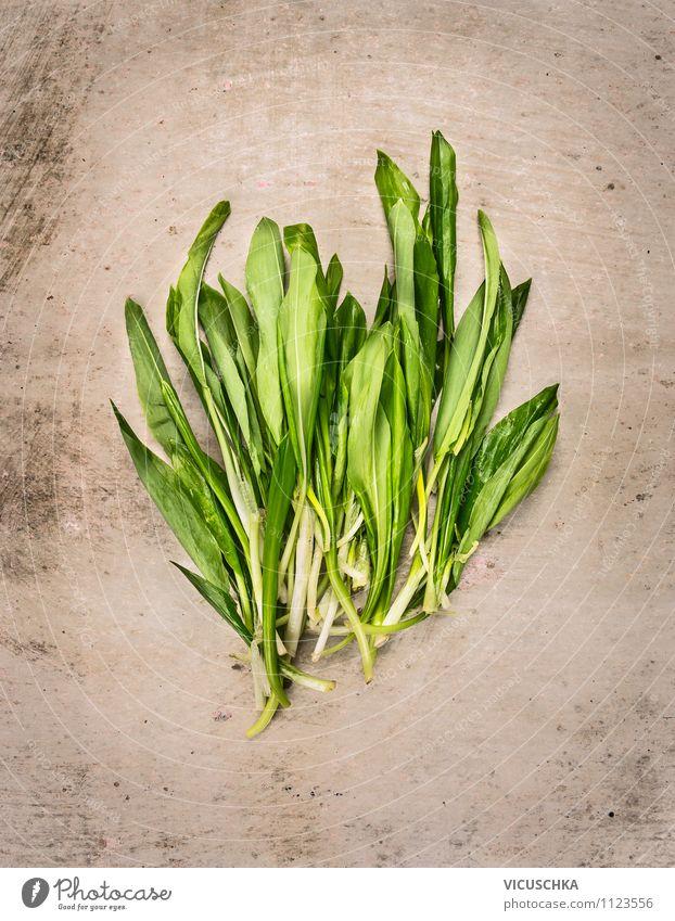 Wild garlic bunch, spring herbs. Food Lettuce Salad Herbs and spices Nutrition Organic produce Vegetarian diet Diet Style Design Alternative medicine