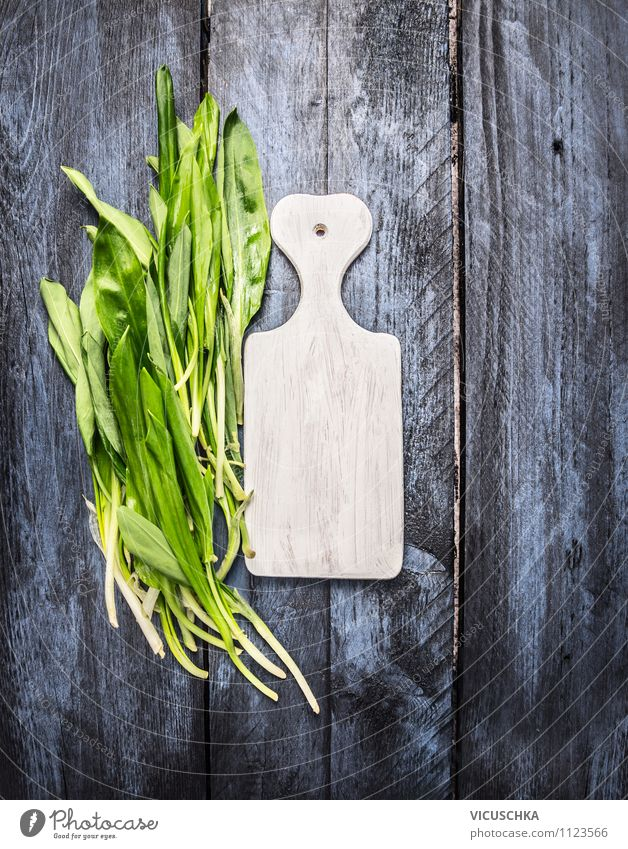 Wild garlic and white chopping board Food Lettuce Salad Herbs and spices Style Design Healthy Eating Life Garden Table Kitchen Spring Summer Club moss