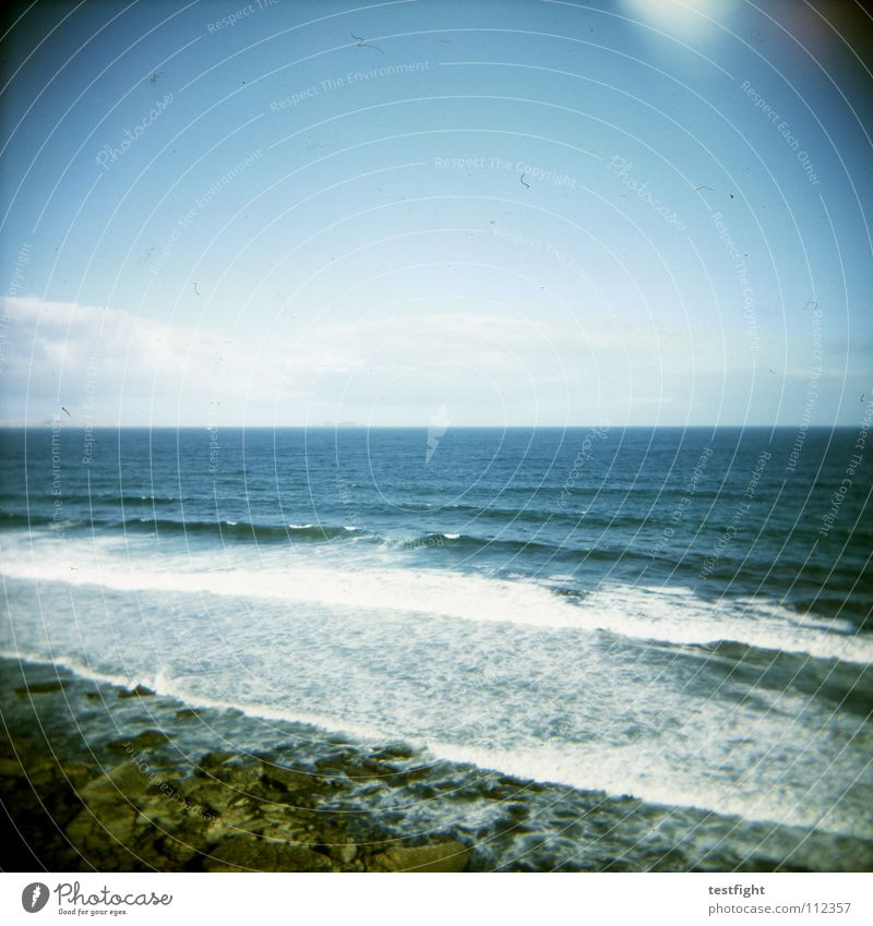 ocean Ocean Infinity Far-off places Coast Beach Surf Holga Sky Portugal Summer In transit Doomed Loneliness South Leisure and hobbies Vacation & Travel Free