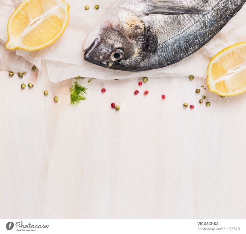 gilthead with lemon Food Fish Herbs and spices Nutrition Lunch Dinner Organic produce Vegetarian diet Diet Style Design Healthy Eating Table Kitchen Lemon