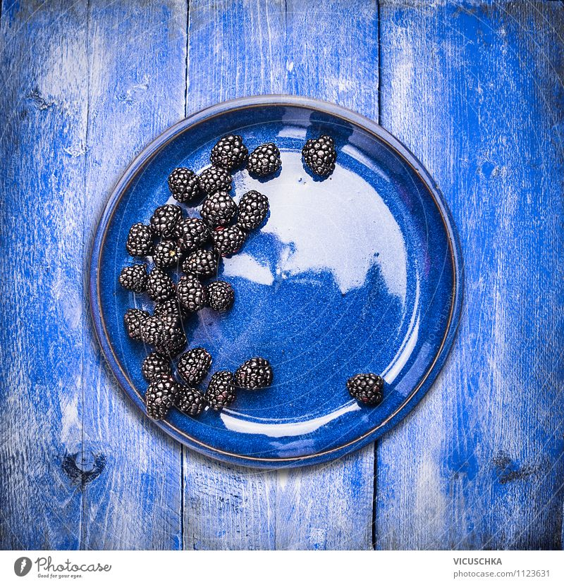 Blackberries in blue plate Food Fruit Dessert Nutrition Breakfast Lifestyle Style Design Healthy Eating Summer Garden Nature Background picture Vitamin