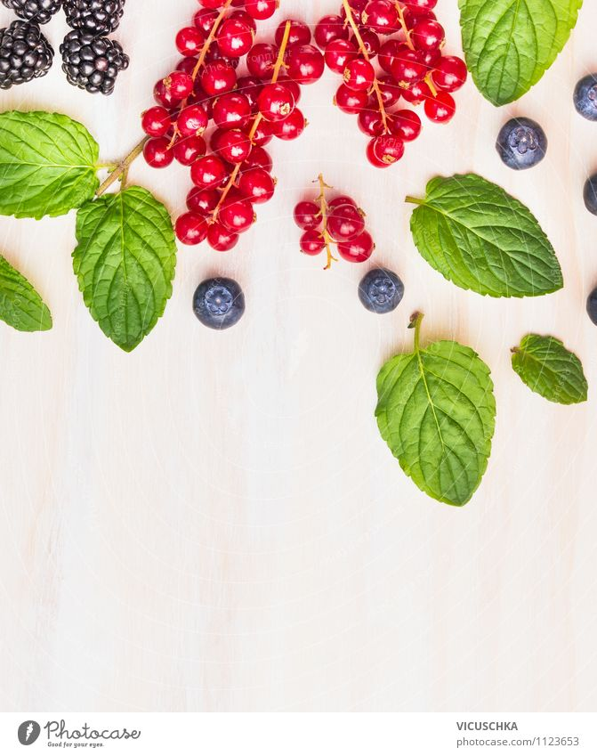 Mint leaves with summer berries Food Fruit Herbs and spices Nutrition Breakfast Organic produce Vegetarian diet Diet Juice Lifestyle Style Design Healthy Eating