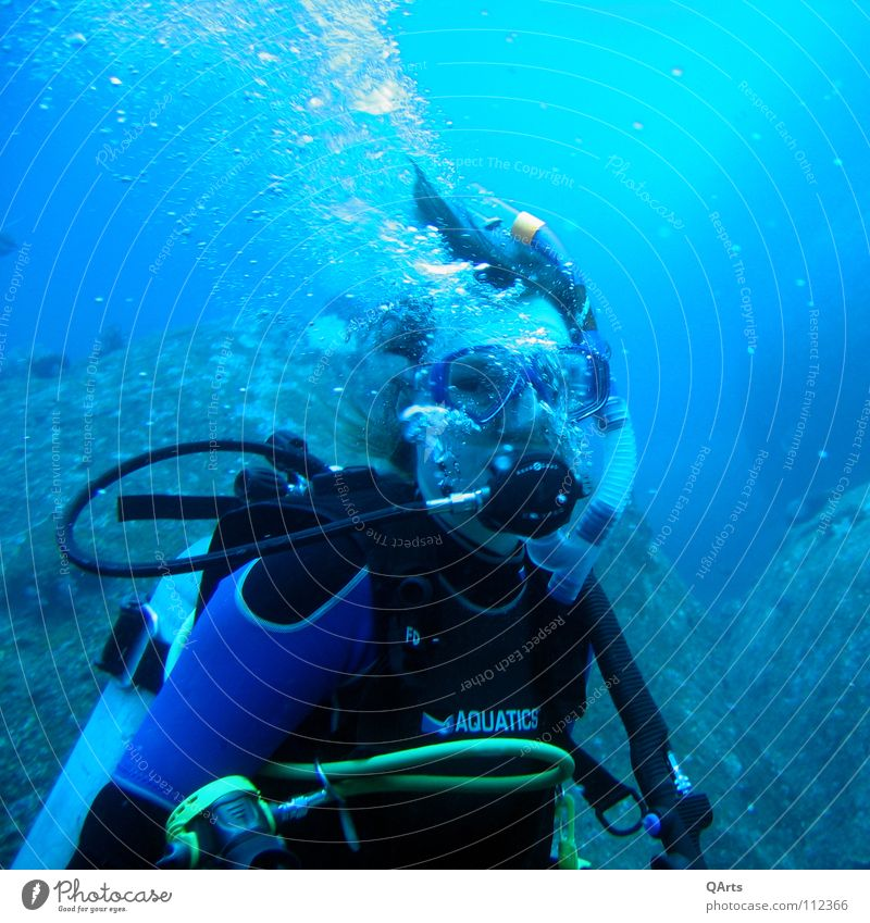 Diver with Bubbles III Shorty Water Ocean Lake Snorkeling Breathe Air Oxygen Coral Thailand Aquatics Sports Playing divergent diving bubbles sea blue underwater