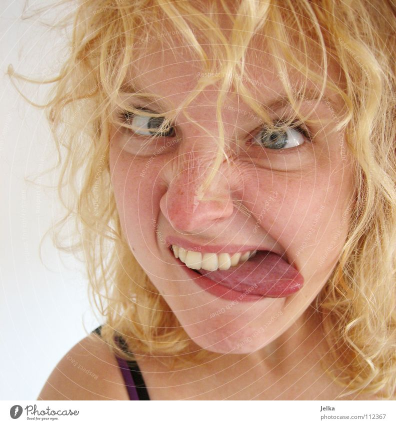 Human being Woman Face Adults Eyes Hair and hairstyles Moody Blonde Mouth Curl Facial expression Tongue Grimace Squint Curly Portrait photograph