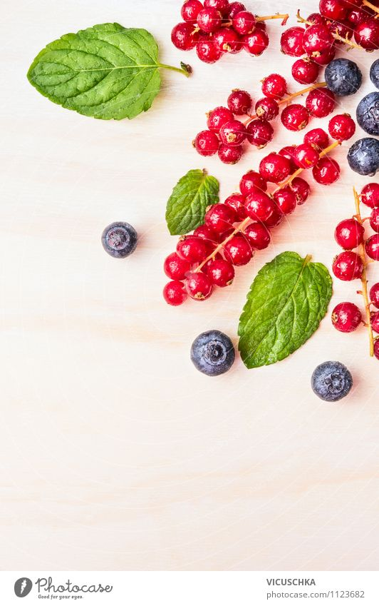 Red currants with blueberries and mint Food Fruit Dessert Nutrition Breakfast Style Design Healthy Eating Life Summer Garden Table Kitchen Nature