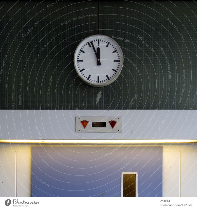 It's time Colour photo Interior shot Morning Central perspective Long shot Clock New Year's Eve Academic studies Work and employment Technology Door Elevator