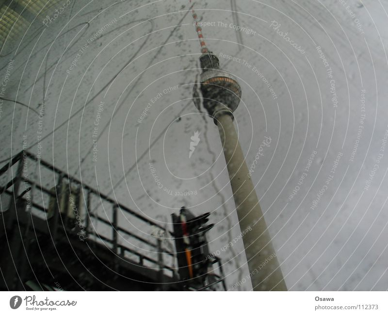 Clouds Berlin Autumn Window Gray Rain Glass Concrete Tower Letters (alphabet) Monument Landmark Window pane Berlin TV Tower Commuter trains