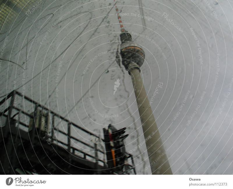 Clouds Berlin Autumn Window Gray Rain Glass Concrete Tower Letters (alphabet) Monument Landmark Window pane Berlin TV Tower Commuter trains