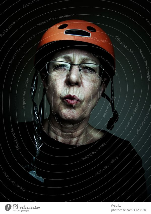 Human being Woman Old Adults Senior citizen Feminine Style Leisure and hobbies 60 years and older Cycling Eyeglasses Female senior Trashy Skeptical Helmet