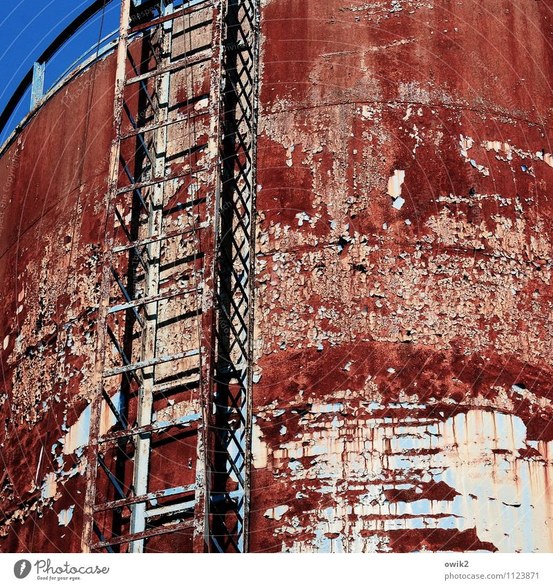 water tower Cloudless sky Falkenberg Brandenburg Germany Manmade structures Building Water tower Facade Metal Rust Trashy Gloomy Town Ladder Rung Tall Above