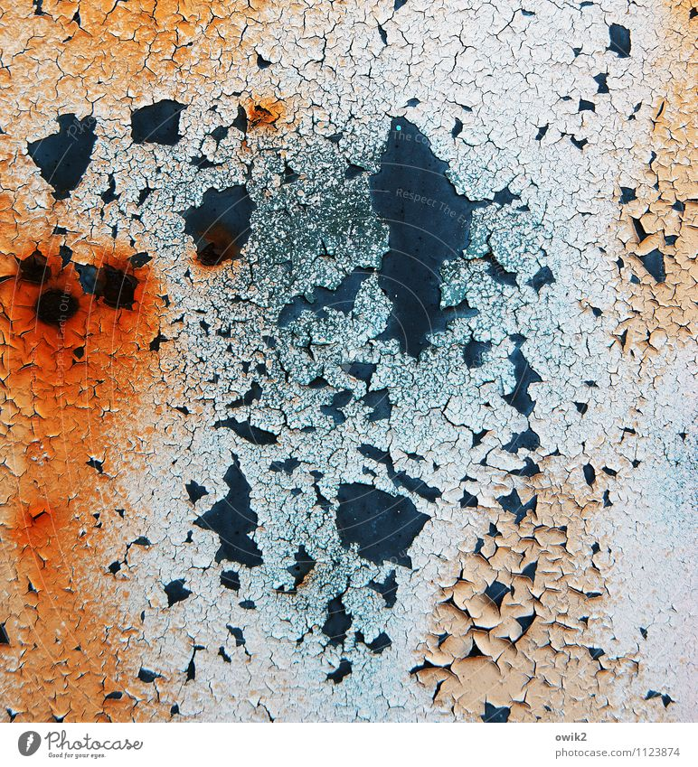 pigments Work of art Metal Rust Old Near Blue Orange Red Black Decline Transience Destruction Colour Crack & Rip & Tear Part Flake off Copy Space Bizarre