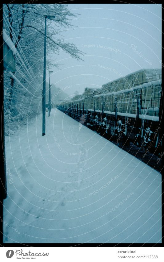 Railway in the snow Freight car Winter Cold Snow Railroad Perspective Tracks
