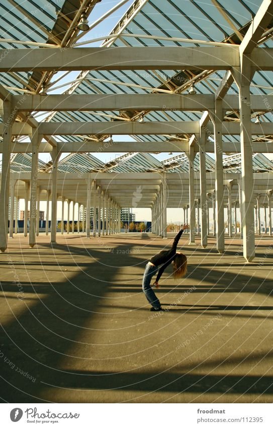 Woman Concrete Perspective Electricity Roof Spain Transparent Column Barcelona Catalonia Forum Crooked