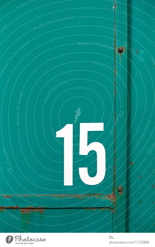 15 Container Rust Metal Digits and numbers Old Green White Colour photo Exterior shot Deserted Copy Space top Day